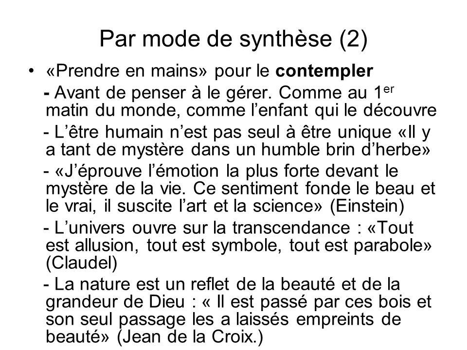 Par mode de synthèse (2) «Prendre en mains» pour le contempler