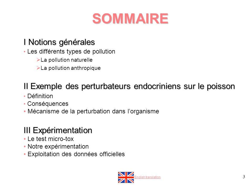SOMMAIRE I Notions générales