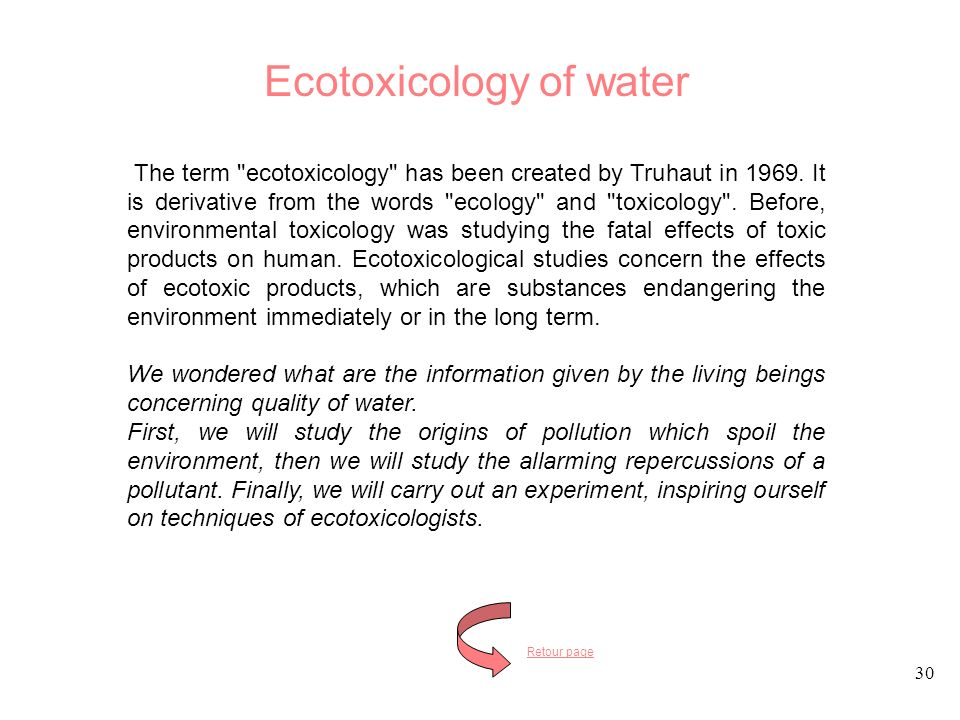Ecotoxicology of water