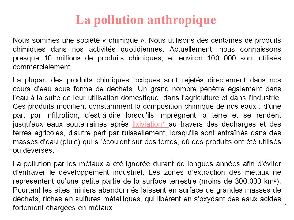 La pollution anthropique