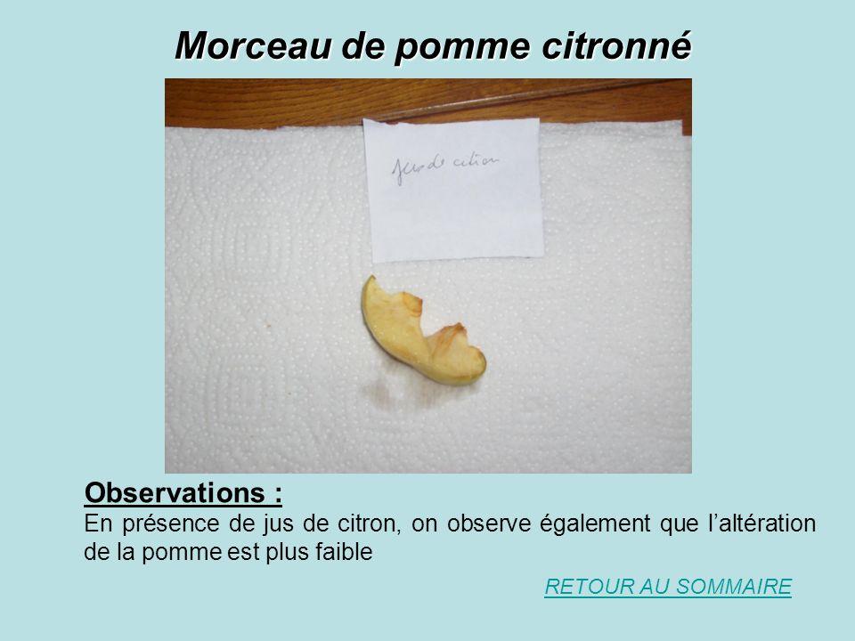 Morceau de pomme citronné