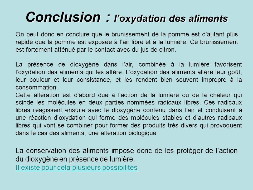Conclusion : l'oxydation des aliments