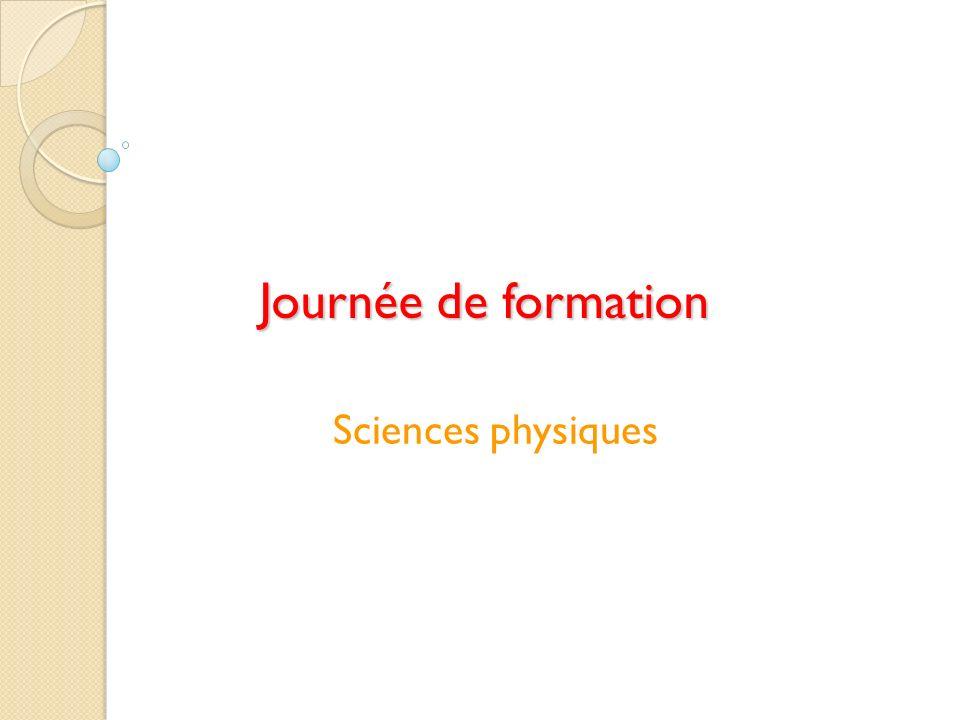 Journée de formation Sciences physiques