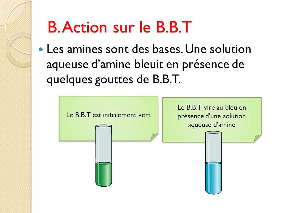 B. Action sur le B.B.T Les amines sont des bases. Une solution aqueuse d'amine bleuit en présence de quelques gouttes de B.B.T.