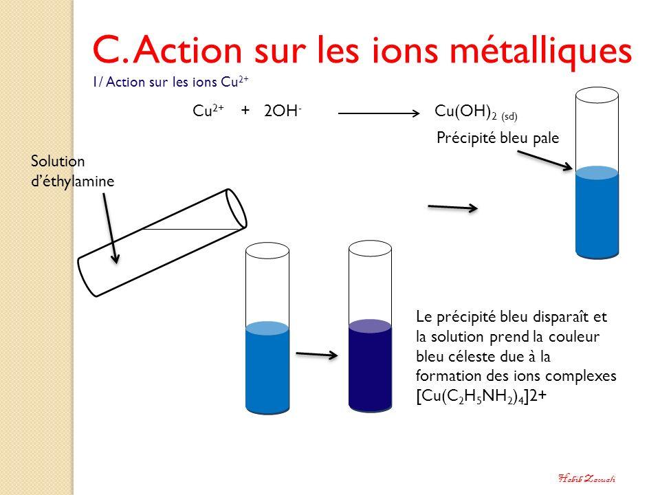 C. Action sur les ions métalliques