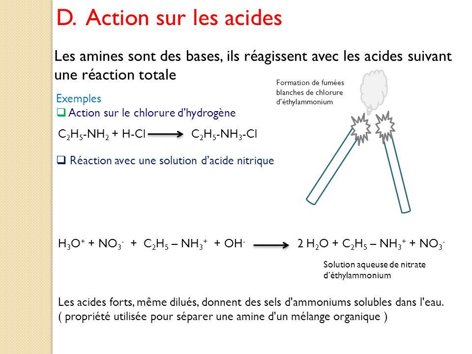 D. Action sur les acides Les amines sont des bases, ils réagissent avec les acides suivant une réaction totale.