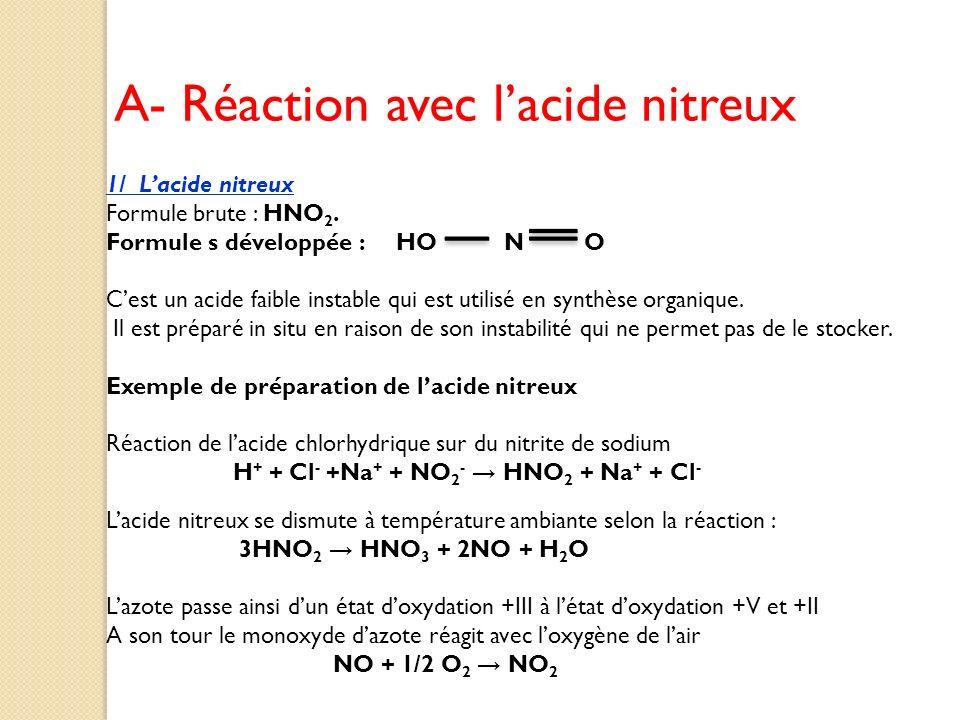 A- Réaction avec l'acide nitreux