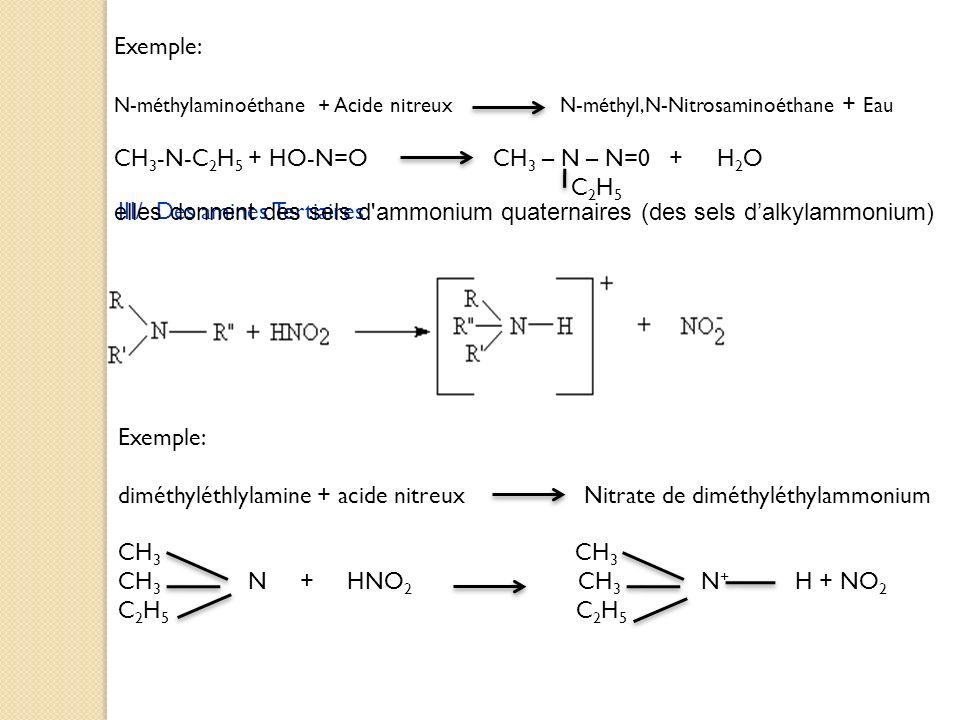 CH3-N-C2H5 + HO-N=O CH3 – N – N=0 + H2O C2H5