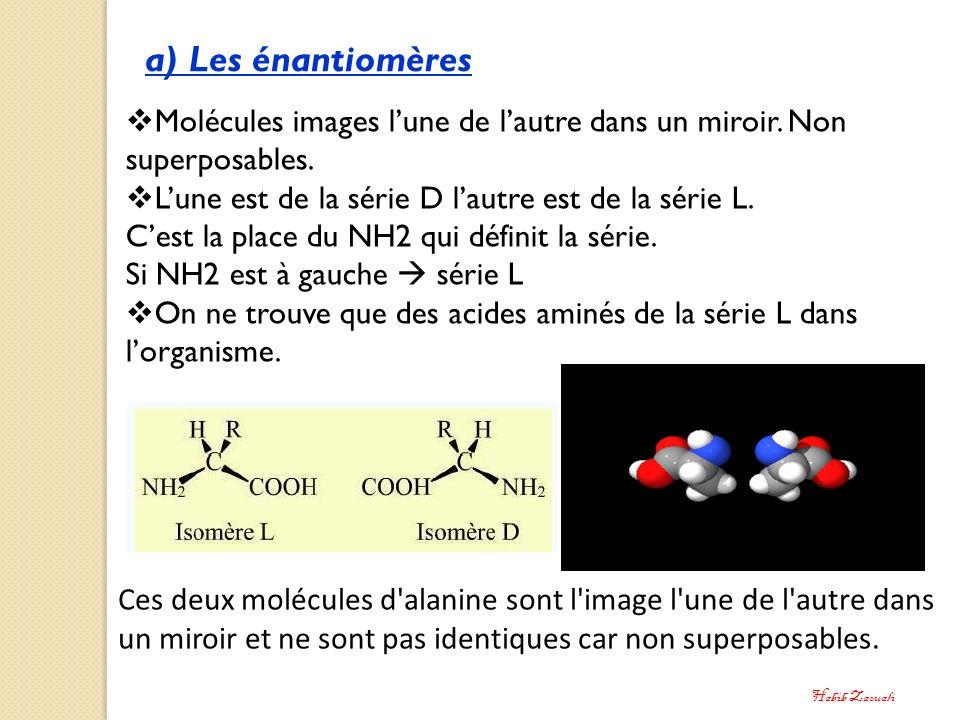 a) Les énantiomères Molécules images l'une de l'autre dans un miroir. Non superposables. L'une est de la série D l'autre est de la série L.