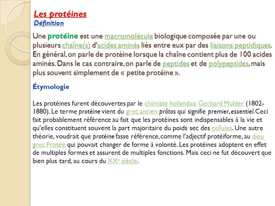 Les protéines Définition.