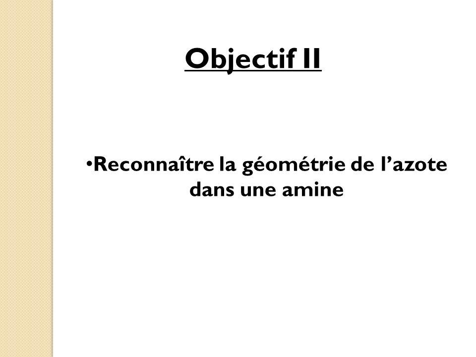 Reconnaître la géométrie de l'azote dans une amine