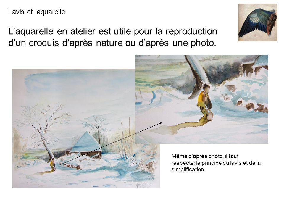 L'aquarelle en atelier est utile pour la reproduction d'un croquis d'après nature ou d'après une photo.