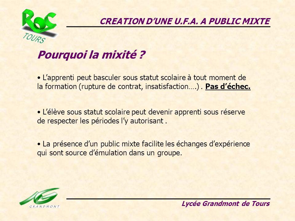 Pourquoi la mixité CREATION D'UNE U.F.A. A PUBLIC MIXTE