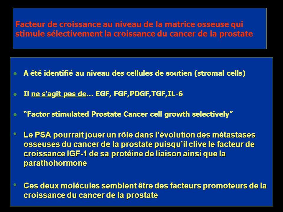 Facteur de croissance au niveau de la matrice osseuse qui stimule sélectivement la croissance du cancer de la prostate