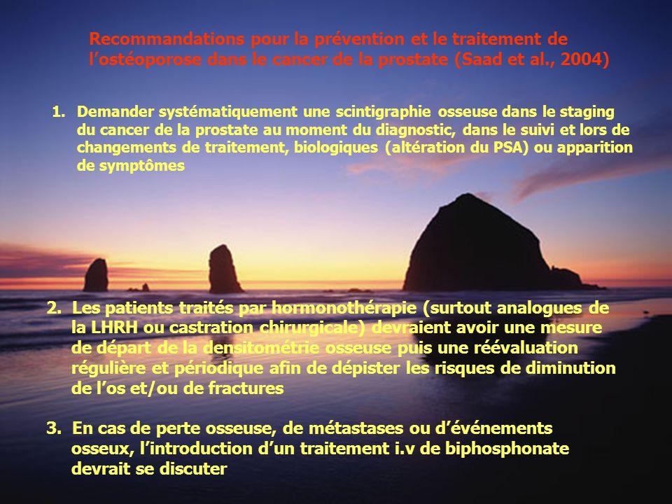 Recommandations pour la prévention et le traitement de l'ostéoporose dans le cancer de la prostate (Saad et al., 2004)