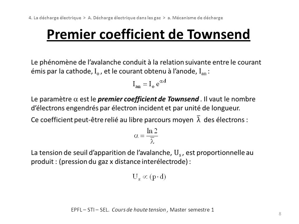 Premier coefficient de Townsend