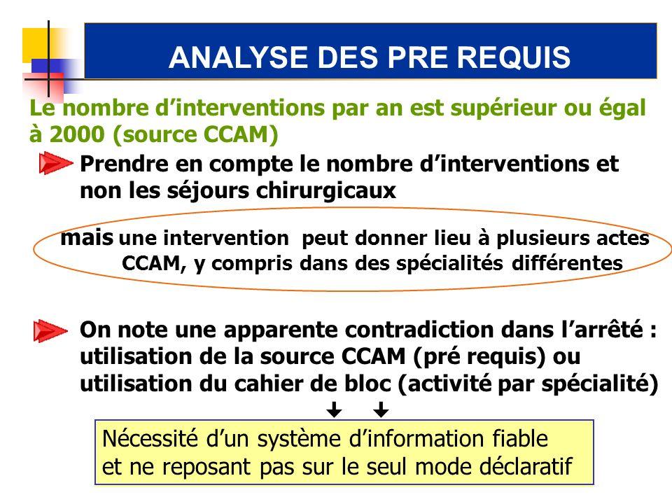 ANALYSE DES PRE REQUIS Nécessité d'un système d'information fiable