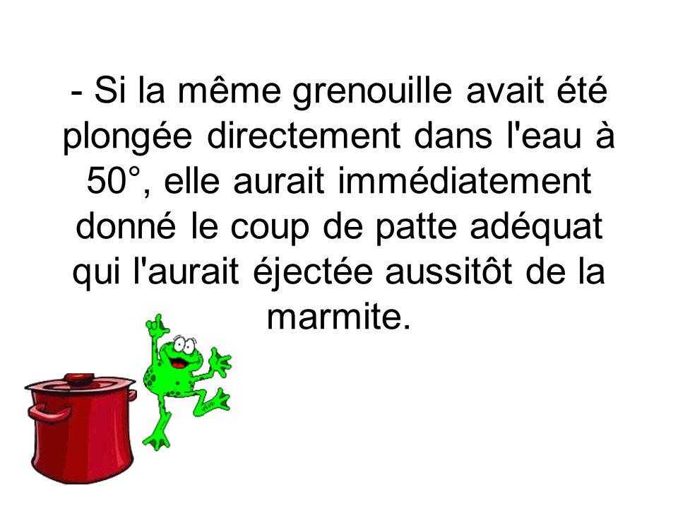 - Si la même grenouille avait été plongée directement dans l eau à 50°, elle aurait immédiatement donné le coup de patte adéquat qui l aurait éjectée aussitôt de la marmite.