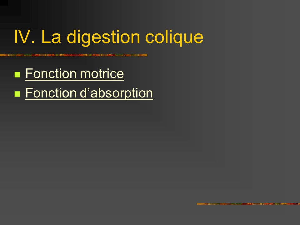 IV. La digestion colique