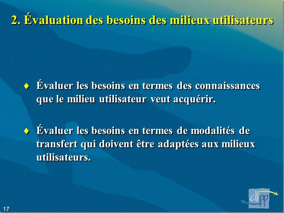 2. Évaluation des besoins des milieux utilisateurs