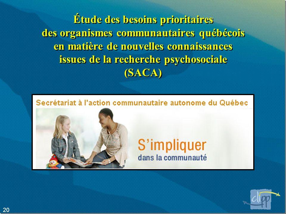 Étude des besoins prioritaires des organismes communautaires québécois en matière de nouvelles connaissances issues de la recherche psychosociale (SACA)