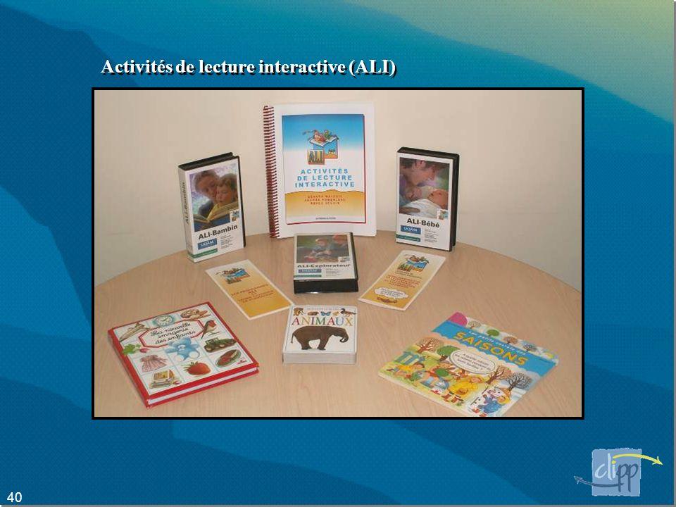 Activités de lecture interactive (ALI)