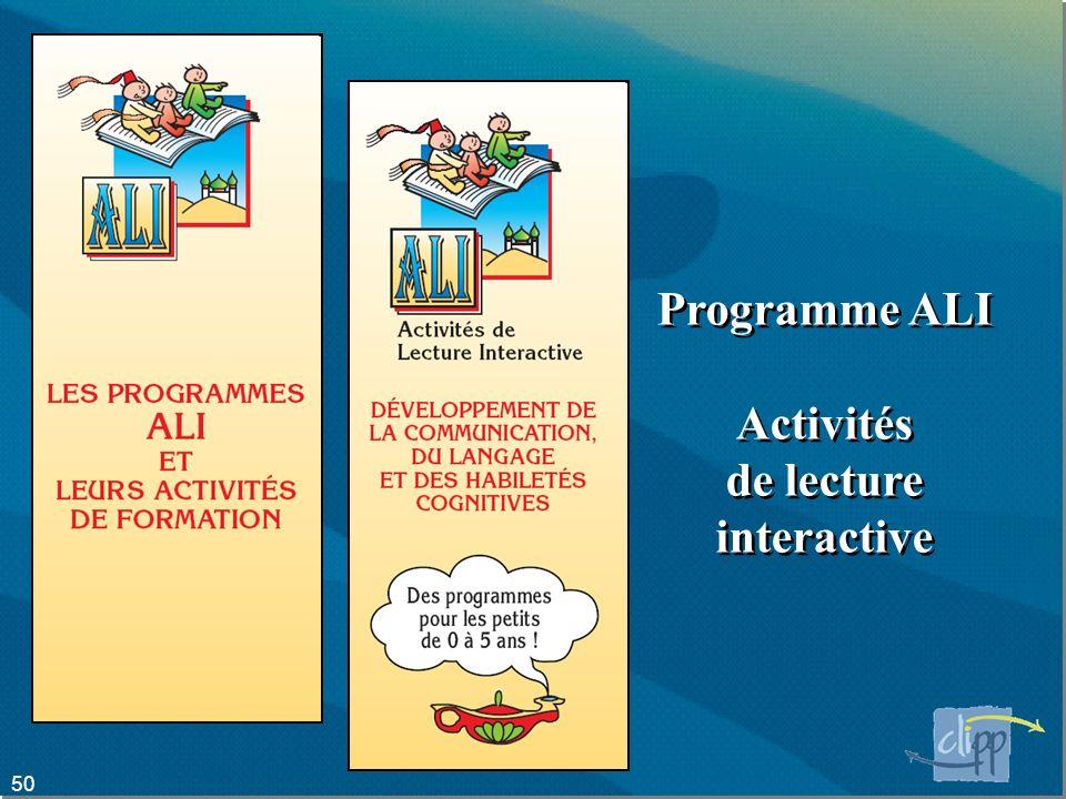Programme ALI Activités de lecture interactive