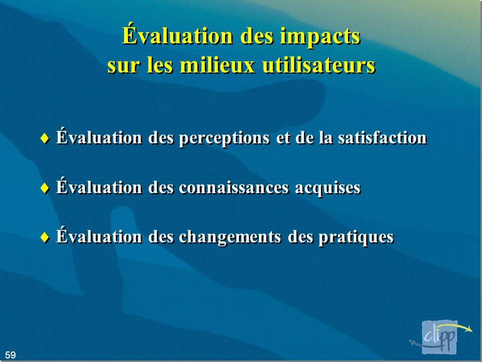 Évaluation des impacts sur les milieux utilisateurs