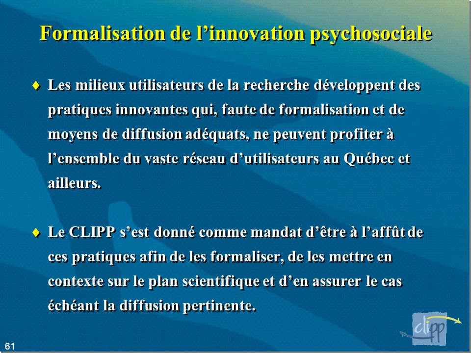 Formalisation de l'innovation psychosociale