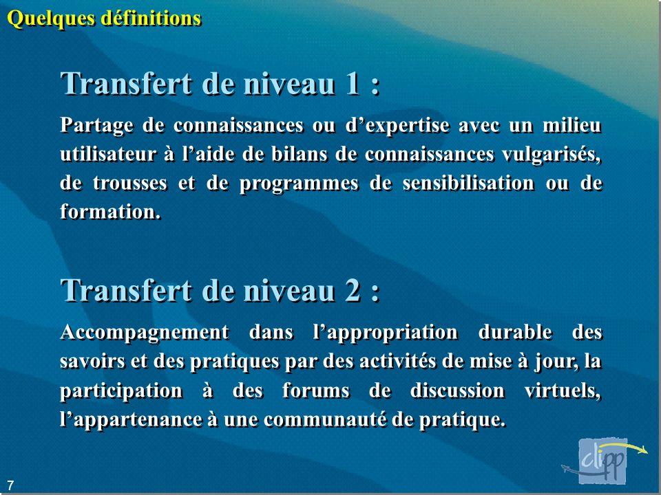 Transfert de niveau 1 : Transfert de niveau 2 : Quelques définitions
