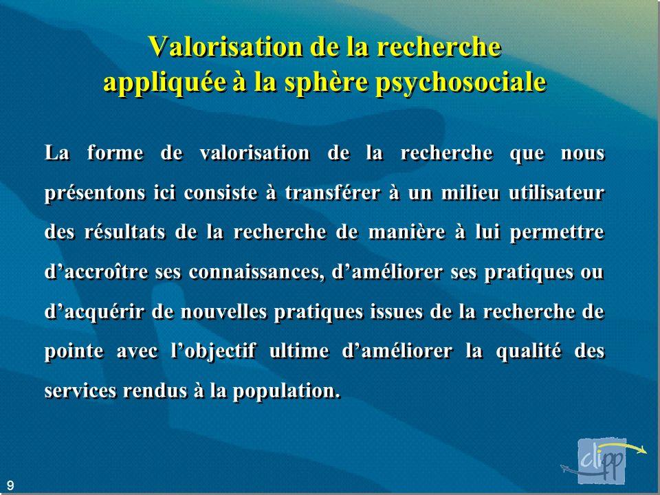 Valorisation de la recherche appliquée à la sphère psychosociale