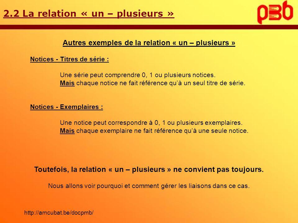 2.2 La relation « un – plusieurs »