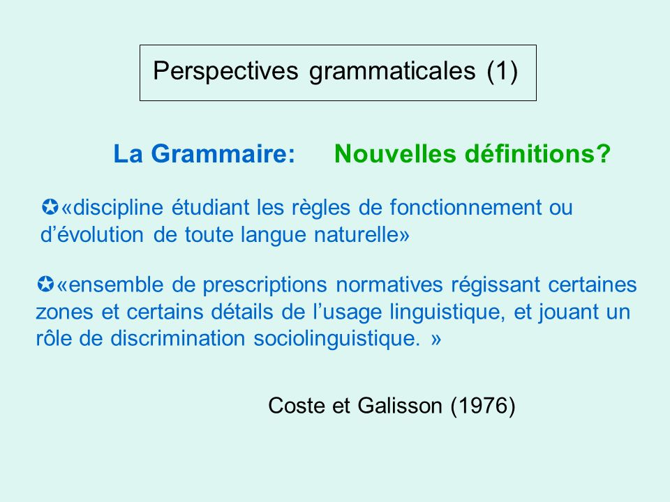 Perspectives grammaticales (1)