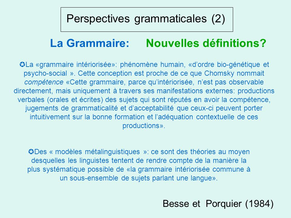 Perspectives grammaticales (2)