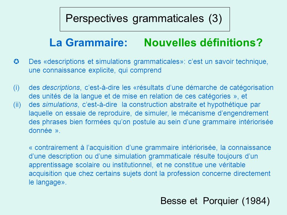 Perspectives grammaticales (3)
