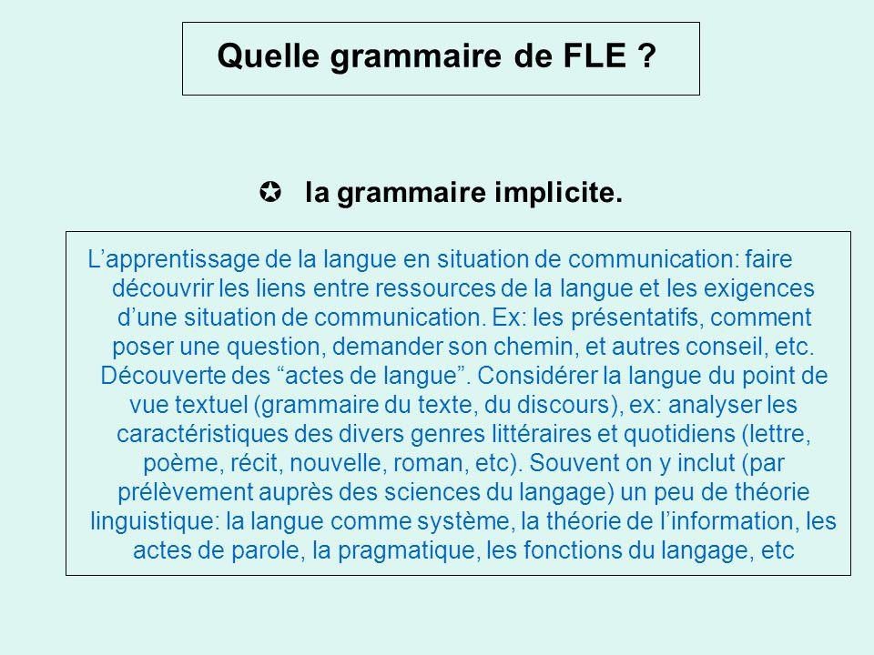 Quelle grammaire de FLE