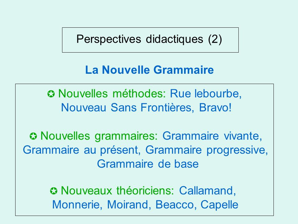 Perspectives didactiques (2)
