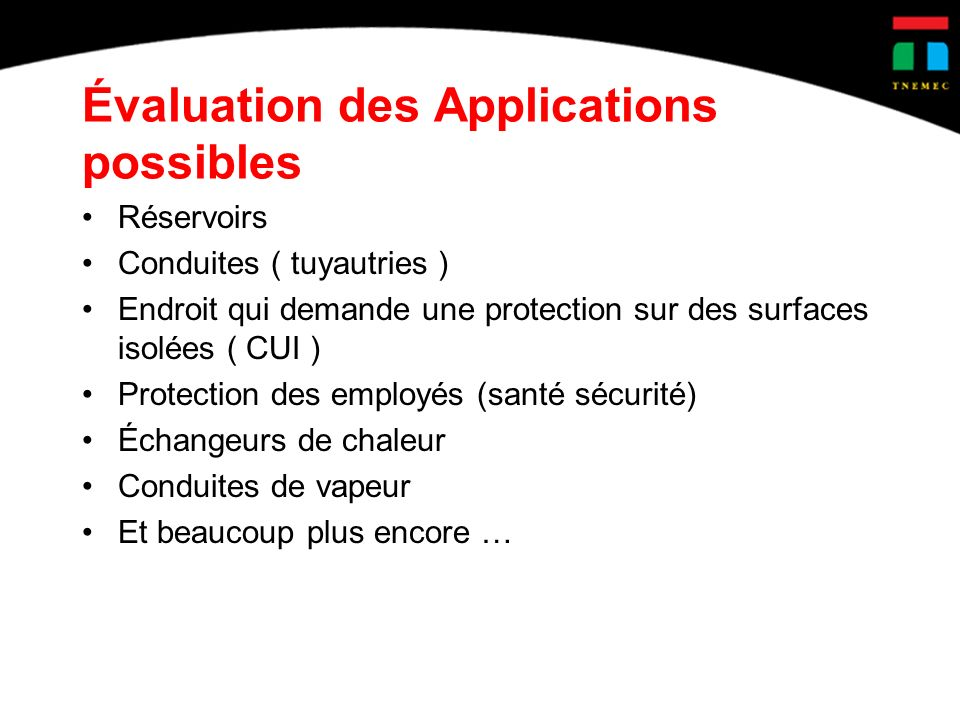 Évaluation des Applications possibles
