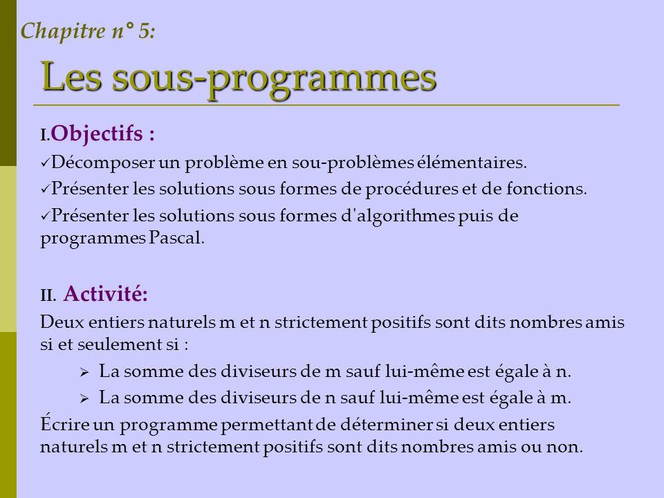 Les sous-programmes Chapitre n° 5: Objectifs : Activité:
