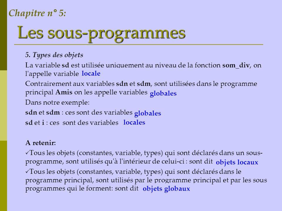 Les sous-programmes Chapitre n° 5: 5. Types des objets