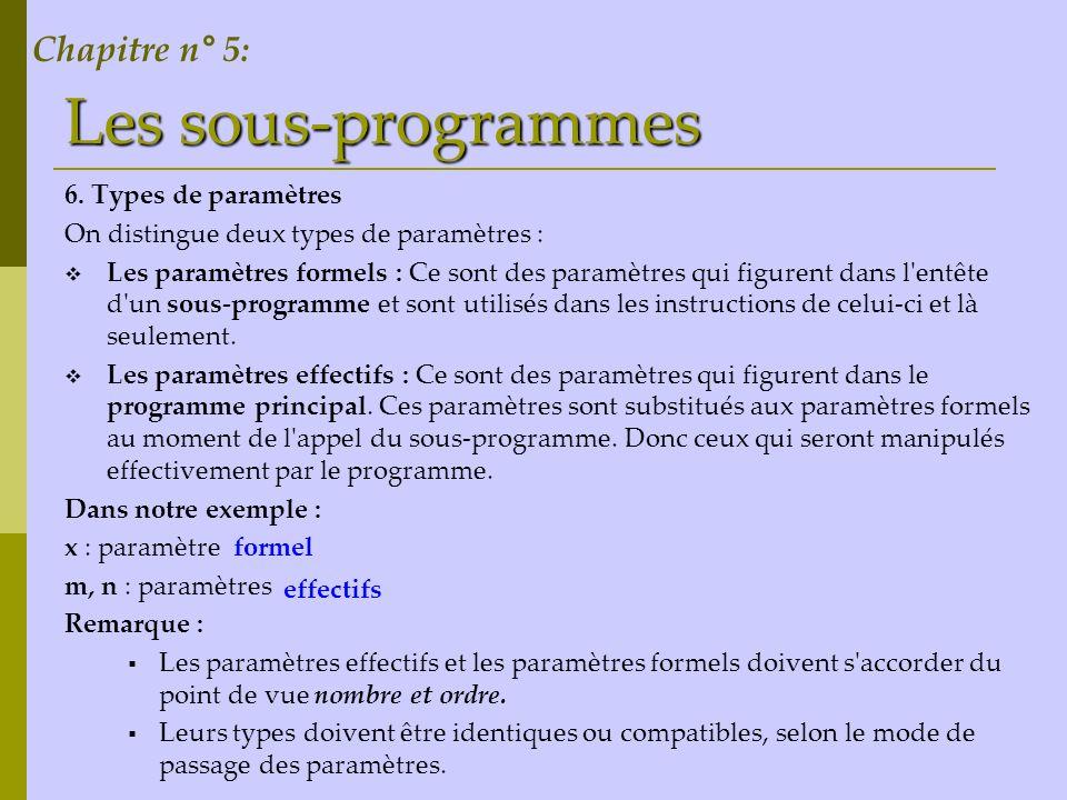 Les sous-programmes Chapitre n° 5: 6. Types de paramètres