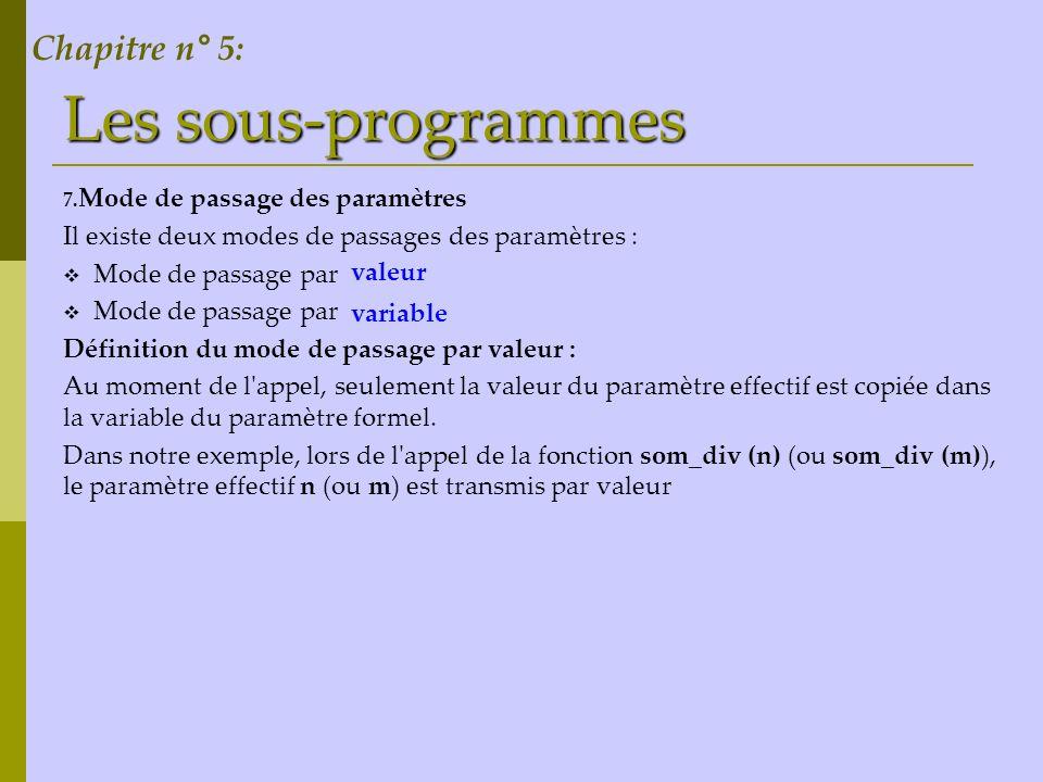 Les sous-programmes Chapitre n° 5: Mode de passage des paramètres