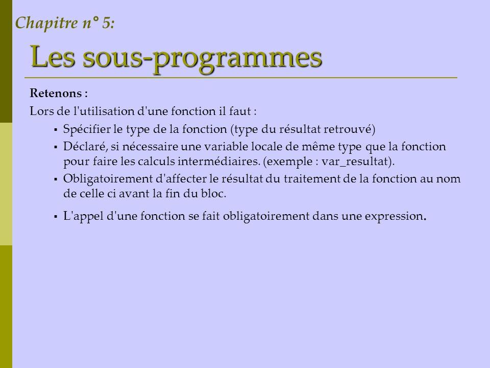 Les sous-programmes Chapitre n° 5: Retenons :