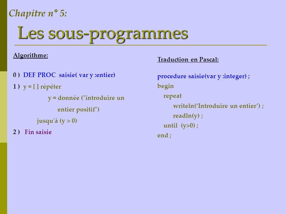 Les sous-programmes Chapitre n° 5: Algorithme: Traduction en Pascal: