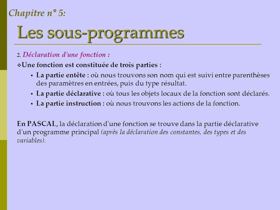 Les sous-programmes Chapitre n° 5: Déclaration d une fonction :