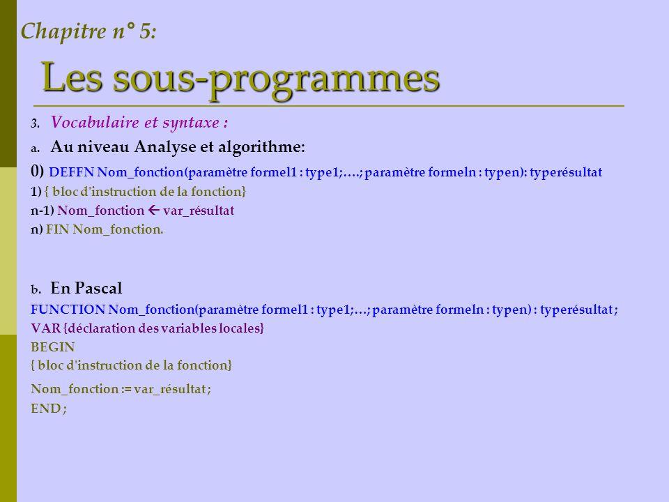 Les sous-programmes Chapitre n° 5: Vocabulaire et syntaxe :