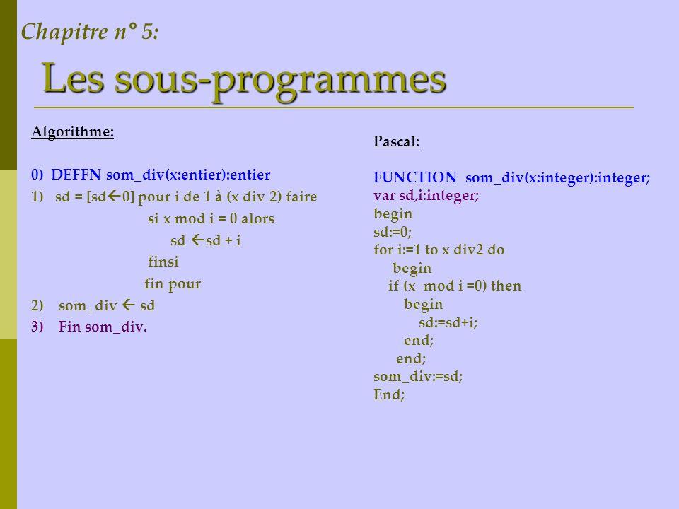 Les sous-programmes Chapitre n° 5: Algorithme: Pascal: