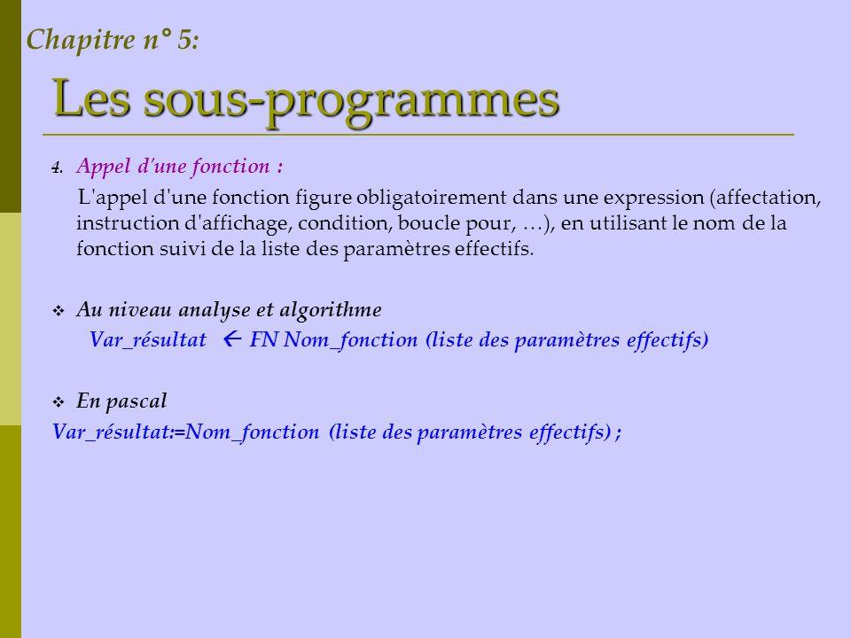 Les sous-programmes Chapitre n° 5: Appel d une fonction :