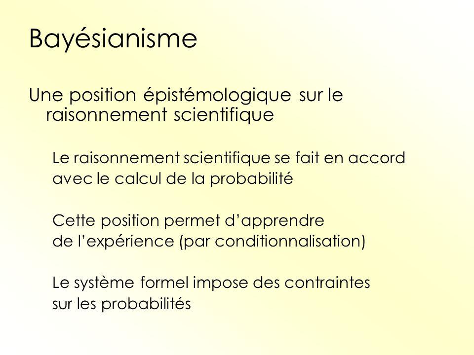 Bayésianisme Une position épistémologique sur le raisonnement scientifique. Le raisonnement scientifique se fait en accord.