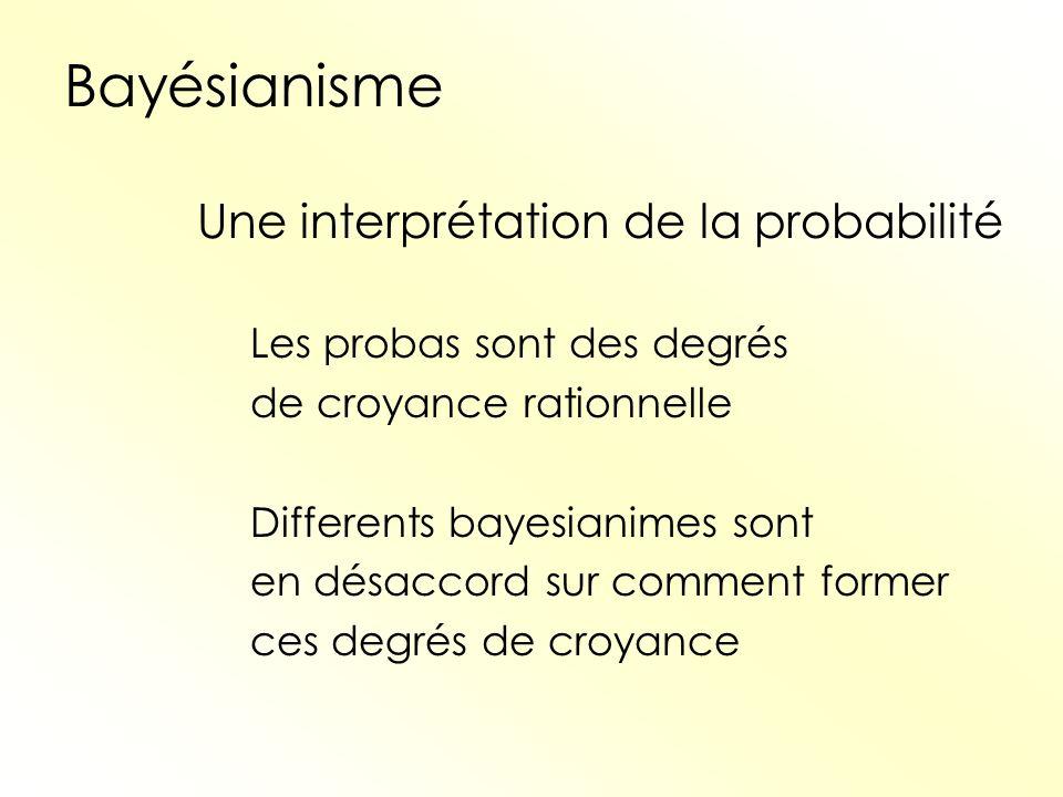 Bayésianisme Une interprétation de la probabilité